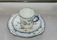 Collingwood China Art Deco  Trio Cup Saucer Plate Bluebirds Hand Enamelled