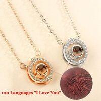 Memoria Cadena Gargantilla Collar colgante de 100 idiomas te amo Amante corazón