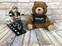 Lot of 2 Harley-Davidson plush bears Roamer & Highway Hog riding hog man cave