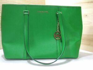 Michael Kors Green Leather Laptop/Tote Bag