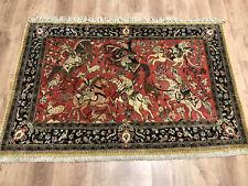 Feiner Perser/Orient Teppich Seide auf Seide Ghom Jagdszenen 158 x 102 Neuwertig