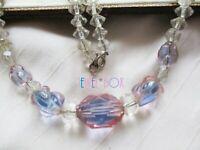SIGNED CZECH ART DECO BI COLOUR CRYSTAL Blue Pink VINTAGE NECKLACE SPECIAL GIFT