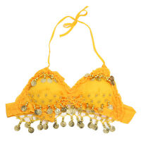 hand made New Sexy Folded lace Coins Belly Dance Bra Top(Yellow) R8M7