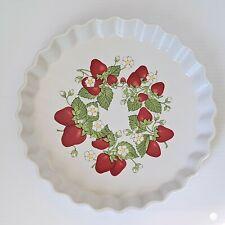 "Vintage Strawberry Tart Quiche Baking Serving Dish Action Japan Stoneware 10"""
