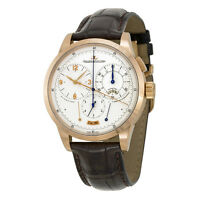 Jaeger LeCoultre Duometre Silver Dial Leather Mens Watch Q6012420