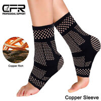 Copper Compression Ankle Support Brace Foot Sleeve Sock Plantar Fasciitis Injury