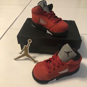 Nike Air Jordan 5 Retro Raging Bull Red 2021 Toddler Shoes, Size 6c 440890-600