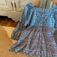 M New Boho Floral Button Back Vtg 70s Insp Peasant Top Blouse Womens Size MEDIUM