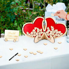 Wooden Heart Wedding Guest Book Signature Drop Box Engagement Guestbook Decor