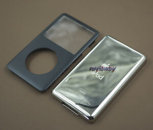 black front faceplate + metal back case housing for ipod 6th classic thick 160gb