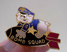 ReServed  SQUAD POLICE OFFICER PIG RIDING ON BOMB MISSILE HUMOROUS NOVELTY  PIN