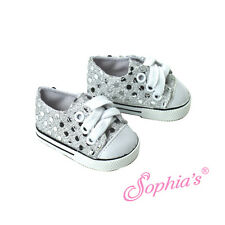 NIP- silver sequin glitter sneakers fit  American Girl dolls, Bitty Baby