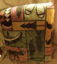 CABIN/LODGE Print Blanket ~ FISH ~ CANOE ~ BEAR ~ MOOSE ~ Twin/Full  ~USA~
