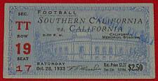 1933 USC Trojans vs University of California Bears Football Ticket At Memorial