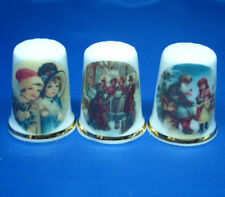 Birchcroft Thimbles -- Set of Three  -- Old Fashioned Christmas ( Make Offer )