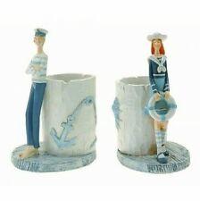 Boy or Girl Ceramic Toothbrush / Pen Holder Seaside Coastal Design Nautical