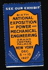 USA Cinderella 1927 Power & Electrical Engineering 6th Expo Mint Never Hinged  E