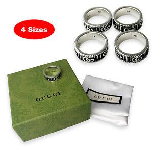 Silver 925 RING Classic GUCCI Interlocking GG Size 6-9