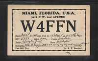 1938 W4FFN QSL CARD USED MIAMI FLORIDA USA
