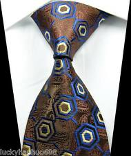 New Classic Patterns Coffee Blue JACQUARD WOVEN 100% Silk Men's Tie Necktie