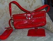 Red Nine West Faux Patent leather Crocodile Purse W. cell phone & coin pouch