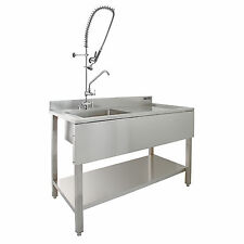 KuKoo Commercial Kitchen Catering Sink & Pre-rinse Mixer Tap RH Drainer Stainless Steel 1.0 Bowl 120cm Wide