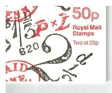 error miscut PAID TO PAY FOURTH SERIE 50p FOLDED STAMP BOOKLET CYL1 DB14 CAT£150