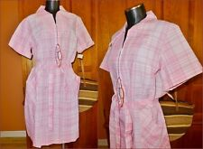 NWT SKIMMA ILGWU Vtg 70s MOD Pink Plaid Check Cotton Belted Day House DRESS Sz L
