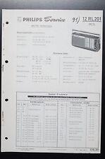 PHILIPS RADIO 12 RL 201 Rex SL Original Manual de servicio/ESQUEMA conexiones