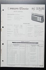 PHILIPS RADIO 12 RL 201 Rex SL ORIGINAL MANUELS DE REPARATION / AMPLIFICATEUR