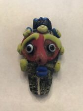 Antique Phoenician Handmade Mosaic Glass Wizard Pendant / Bead