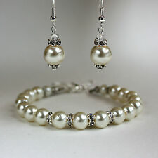Cream ivory pearl crystal earrings chunky bracelet wedding bridesmaid silver set