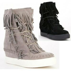 WOMENS PLATFORM TRAINERS ANKLE BOOTS HIDDEN WEDGE HEEL LACE UP BOOT BLACK GREY