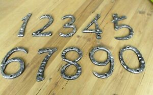 Metal House Numbers Street Address LARGE SILVER CAST IRON FULL SET 0-9 #S CRAFTS