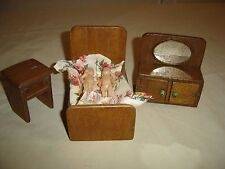 Antique Hand Made Child's Doll Furniture Bed w/Coverlet Dresser Nite Stand 9795