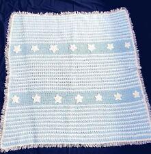 Crochet Blue,White Stripes Star Acrylic Pompadour Yarn Afghan,Lap Throw 56 x 54