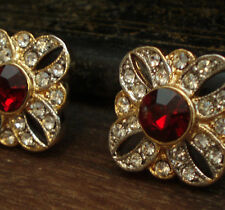 Vintage Clear & Ruby Red Crystal Gold Pierced Earrings