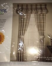 NWT Gray Springmaid 2 Panels Curtains Hampton Plaid Grey 80x84