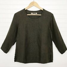 FLAX 100% Linen Brown 3/4 Sleeve Top Shirt Size P / 4-6 Popover Button Cuff Fall