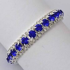 Tennis Bracelet Blue For Womens Silver Plated Wedding Fashion Jewelry