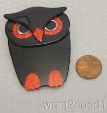LEA STEIN PARIS BUBA OWL PIN jet black with red glitter eyes!
