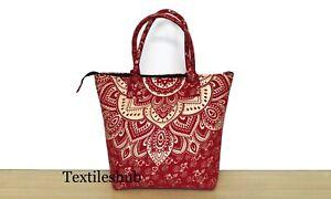 New Indian Red Gold Ombre Mandala Purse Cotton Women Shoulder Messenger Handbags