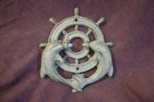 Nautical Door Knocker Ships Wheel & 2 Dolphin / Porpoise Cast Iron