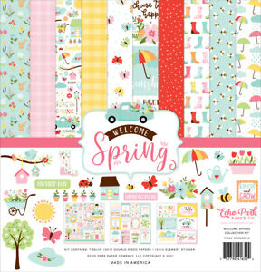Echo Park Paper WELCOME SPRING 12x12 Scrapbook Cardstock Collection Kit