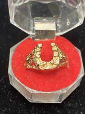 10K Yellow Gold Men's Horseshoe Nugget Ring Size 9.5