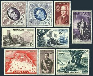 Monaco 354-362a,hinged.Mi 527-535. American Presidents,Columbus,Palace,1955