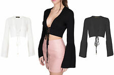 V Neck Party Blouses Cropped Tops & Shirts for Women