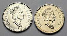 2001 (No P), 2001 (P) - CANADA 5 cents - 2 Varieties of 2001 Nickels