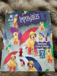 BEPUZZLED IMPOSSIBLES RAINING CATS   & DOGS PUZZLE 750 + 5 PIECES 1996  COMPLETE