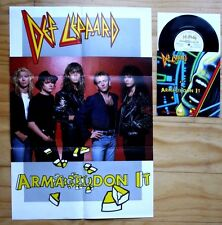 "RARE!!! DEF LEPPARD ARMAGEDDON IT  b/w RING OF FIRE POSTER SLEEVE 7"" VINYL 45"